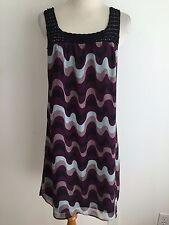 Vertigo Paris Sleeveless Dress Purple, Black, Gray & Peach & Black Size M