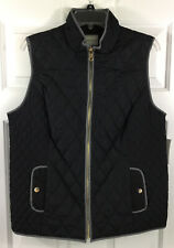 Charter Club Women's Full Zip Quilted Vest Deep Black Size L New!