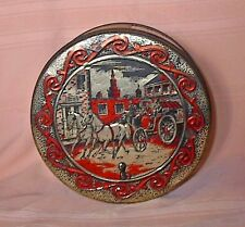 Very Old Fruit Cake Metal Tin Embossed Cover /Horses Buggy Driver Couple in City