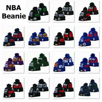 Winter Warm Knitted Embroidered Basketball All Teams Pom Beanie Hat Unisex Adult