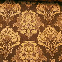 """GOLD BROWN DAMASK HEAVY CHENILLE UPHOLSTERY BROCADE FABRIC 58"""" BY THE YARD"""