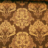"GOLD BROWN DAMASK HEAVY CHENILLE UPHOLSTERY BROCADE FABRIC 58"" BY THE YARD"
