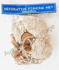 Filet de pêche décoratif corde 230cm x 300cm + flotteurs, décoration marine Neuf