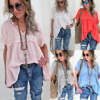 Plus Size Womens Loose V Neck Blouse T Shirt Ladies Summer Baggy Tunic Tee Tops