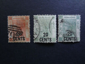 Hong Kong 1885-1891 QVic Surch Wmk CA SG 40,45,45a used small faults