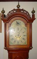 Antique 19th century cherry tall case clock-painted bird dial ---15506