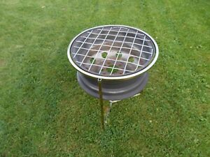 """Upcycled """"POSH"""" Steel Wheel Redneck BBQ/Firepit/Chimenea/ with Fixed Alum Stand"""