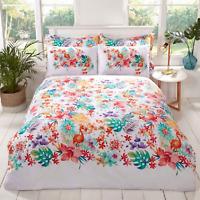 Duvet Cover Set -  Single Reversible Bedset Tropical Floral Design Bedding Set