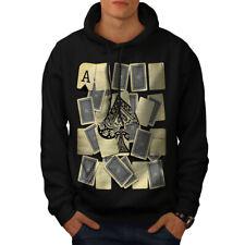 Wellcoda Ace of Spades Card Mens Hoodie, Gamble Casual Hooded Sweatshirt