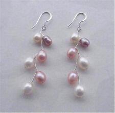 Fashion Natural Rice Akoya Cultured Pearl Dangle Silver Hook Earrings AAA