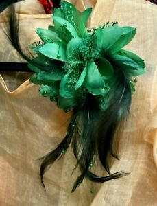 """Millinery Flower 4"""" Silk Netting Feathers Beads 1pc Accessory  Emerald Clip/ Pin"""