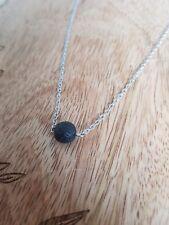 Natural Black Lava Stone Round Ball Pendant Essential Oil Diffuser Necklace