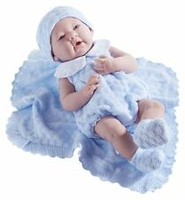 "Jc Toys La Newborn Blue Knit Blanket Gift Set. Realistic 15"" Anatomically Correc"