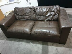 2 x 3 seater brown leather sofa used set of 2