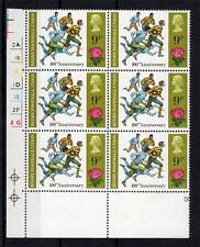 9p 1971 ANNIVERSARIES U/M CYLINDER BLOCK PHOSPHOR OMITTED on 5 STAMPS Cat £2250