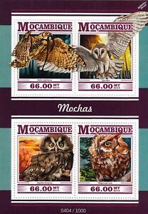 OWLS (Mochas) Birds of Prey Mint MNH Stamp Sheet M/S (2015 Mozambique)
