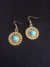 *Vintage Style Gold & Blue Dangly Earrings*