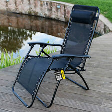 Marko Reclining Sun Lounger Garden Chair Textoline Armrest Relaxing Outdoor UK