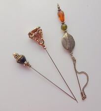 Antique Vtg Lot 3 Figural Hatpins Stones Victorian Gold Filled Collection