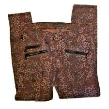 Rock & Republic Womens Banshee Jeans 6 Denim Skinny Low Rise Purple Blk Leopard