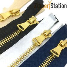No 5 Polished Gold Teeth Zips/Open End Metal Zipper