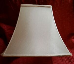 """Unusual Shape """"Fancy Square Bell"""" Lamp Shade in Beige with Cream Lining"""