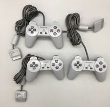 LOT OF 3 Sony Playstation 1 White Dualshock Controllers SCPH-1080 *Tested* - C17