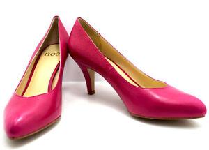 Noe Womens High Heel Pumps Court Shoes Leather Pink UK 4 / EU 37