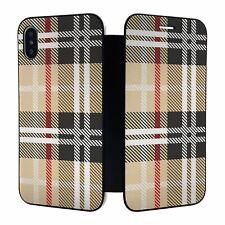 iPhone X XS Full Flip Wallet Case Cover Tartan Plaid Pattern - S5617