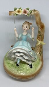 "Josef Originals Lady in Blue Swinging On Tree Music Box 6.5"" Tall. Lot X767"