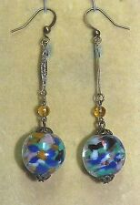 Vintage Venetian Sommerso rainbow glass bead earrings to match 1950s necklace