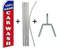 """100% Hand Car Wash"" Super Flag & 5 Piece Pole Set W/ Tire Base"