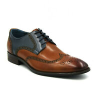 BRAND NEW AZOR MEN'S MISSORI LEATHER LACE UP BROGUE SHOES - TAN/BLUE