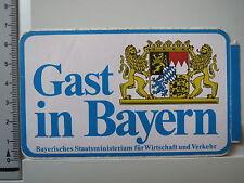 Aufkleber Gast in Bayern - Bayerisches Staatsministerium Verkehr & Wirts. (1296)