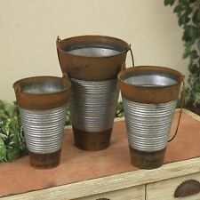Set of 3 Galvanized French Metal Buckets Two-Toned Flower Vases