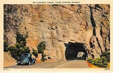 CLAYPOOL TUNNEL ON GLOBE SURPERIOR HIGHWAY IN CALIFORNIA POSTCARD c1940s OLD CAR