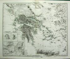 1870 DATED MAP ~ GREECE & THE AEGEAN SEA ATHENS SYRA ~ ADOLF STIELER HAND COLOUR