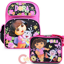 "Dora The Explorer Large 16"" School Backpack with Lunch Bag Set : Flower Garden"