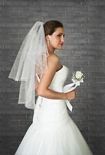New 2T White Ivory Wedding Fingertip Length Bridal Veil Comb, Beads & Crystals