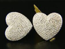 WOMENS HEART PAVE DIAMOND DANGLE STUD EARRINGS 2.0 CT