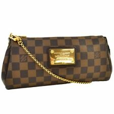 LOUIS VUITTON Damier Ebene Eva N55213 Hand Bag Brown Canvas