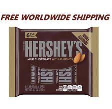 Hershey's Milk Chocolate w/ Almonds 6 Full Size Chocolate Bars FREE WORLD SHIP