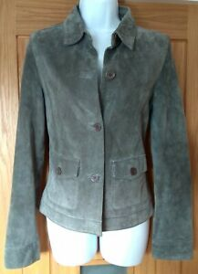 LAURA ASHLEY Womens SUEDE LEATHER JEANS JACKET Size 10 Silver Grey Coat rrp £120