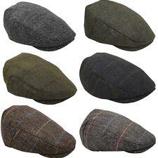 Men's Check Tweed Herringbone Wool Blend Flat Caps