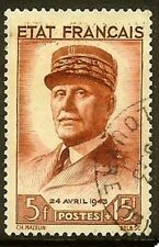 "FRANCE TIMBRE STAMP N° 580 "" PETAIN 5F + 15F ROUGE BRUN "" OBLITERE TB"