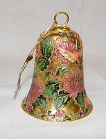 Christmas Tree Ornament Bell - Gold w/ Humming Bird & Flower / Floral Design