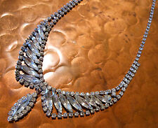 Vintage Signed Weiss Art Deco Rhinestone Necklace Choker Adjustable Closure