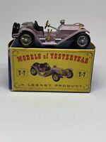 Lesney Models of Yesteryear 1913 Mercer Raceabout 35J Y-7 Silver & Gold Wheels