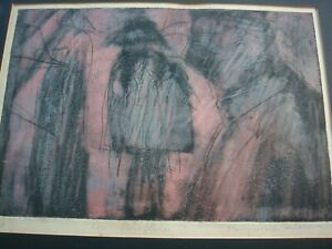 MARY COULOURIS, AMERICAN/BRITISH, PARAPLUIES UMBRELLAS, COLOUR ETCHING, SIGNED
