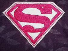SUPERMAN SUPERGIRL EMBROIDERED PATCH PINK SEW IRON ON DIY